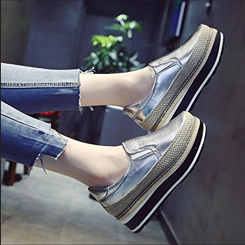 KHSKX-The New Fall Thick Single Shoes Female Korean Version Of The Straw Sisal Sponge Cake The Lazy Bones Shoes Students Are To Increase The Female Shoes 35 TT4UHg