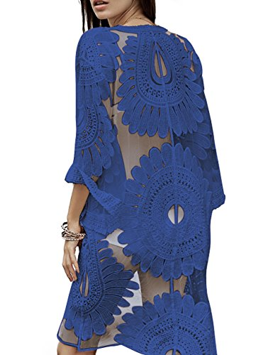 shermie Women's Floral Crochet Lace Beach Swimsuit Cover Ups Long Vintage Kimono Cardigan (Royal Blue)