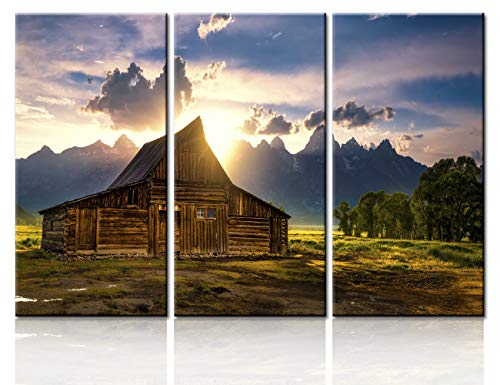 Native American Home Decor for Living Room Country Scene Wall Art T. A. Moulton Barn Paintings USA Landmark Canvas Modern Artwork Giclee Wooden Framed Ready to Hang Posters and Prints(28''x42'')
