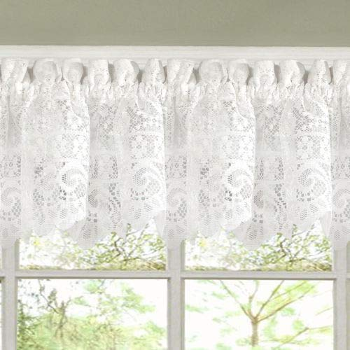 Hopewell Heavy White Lace Kitchen Curtain Choice of Tier Valance or Swag (Valence)
