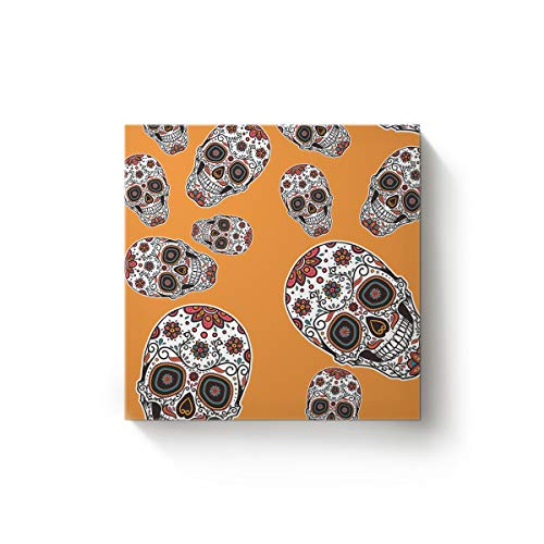 EZON-CH Canvas Wall Art Square Oil Painting Modern Artworks Office Home Decor,Horror Halloween 3D Skull with Flowers Orange Canvas Artworks,Stretched by Wooden Frame,Ready to Hang,36 x 36 Inch ()