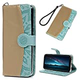 Galaxy S8 Case, S8 Wallet Flip Folio Case Kickstand Card Slots Embossed Sunflower Stitching PU Leather Wallet Case Shockproof Soft TPU Rubber Bumper Ultral Slim Wallet Cover for Samsung Galaxy S8