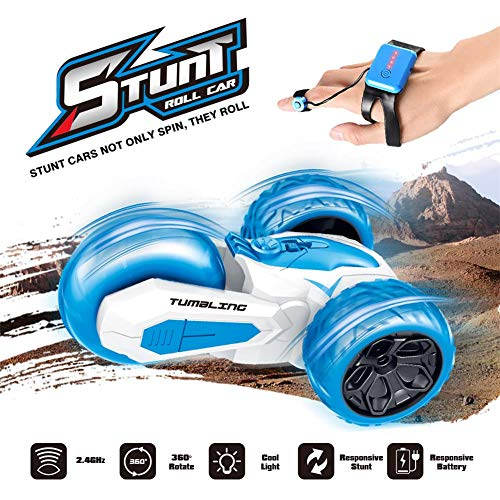 RC car Gesture-Sensing Blue Tricycle Remote-Controlled Stunt car Drift 360 Rotary Off-Road high-Speed Toy car