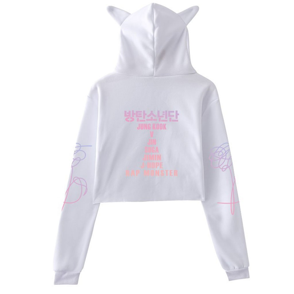 8ca75cbec0103 Junlinto Womens BTS Crop Top Hoodies Kpop Funny Cat Ear Hooded Sweatshirt  Pullover Floral White M  Amazon.co.uk  Kitchen   Home