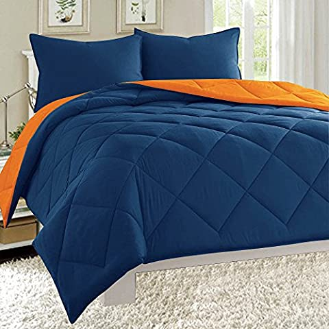Dayton Down Alternative Reversible 3-Piece Comforter Set Quilted Soft Brushed Microfiber Bed Cover All Sizes (King, Navy Blue & - Blue Reversible Comforter