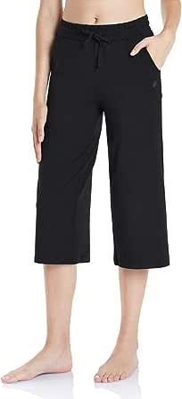 TSLA Loungewear Women's Bermuda Capri Comfy Soft Peachskin Leisure Casual Yoga Active with Pockets