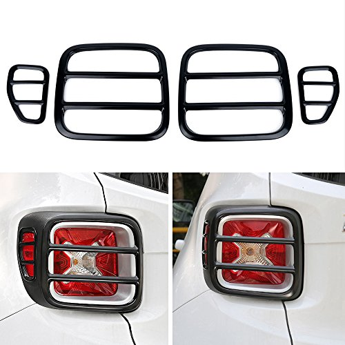 Jeep Renegade Tail Light Cover,Metal Taillights Lamp Protector Guard Cover Trim For Jeep Renegade 2015 2016 Set Of 4 (Black)