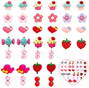 Kicpot Clip-on Earrings Girls, Princess Party Favor Jewelry Set with Pink Heart Shaped Box Value Party Favor B