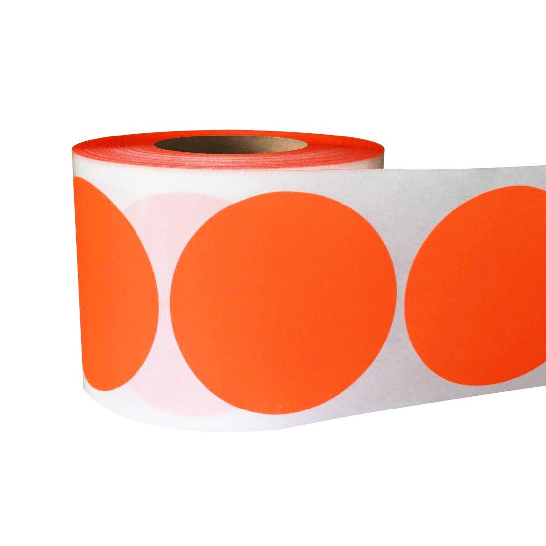 Smart Sticker 2' Inch Round Fluorescent red orange Color Coding Dot Labels - 500 Colored Circle Stickers Per Roll SMARSTICKER