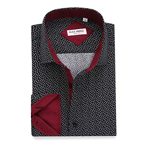 - Alex Vando Mens Printed Dress Shirts Long Sleeve Regular Fit Casual Fashion Shirt(Black6204,Small)