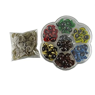 yueton 70 Pcs 12mm Mix Color Plastic Safety Eyes with Washers Eyes For Teddy Bear Doll Animal Crafts DIY (70pcs/35pairs)