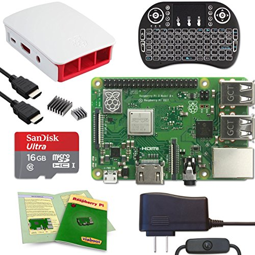 Viaboot Raspberry Pi 3 B+ Deluxe Kit — Official 16GB MicroSD Card, Official Raspberry Pi Foundation Red/White Case, Backlit Keyboard Edition by Viaboot