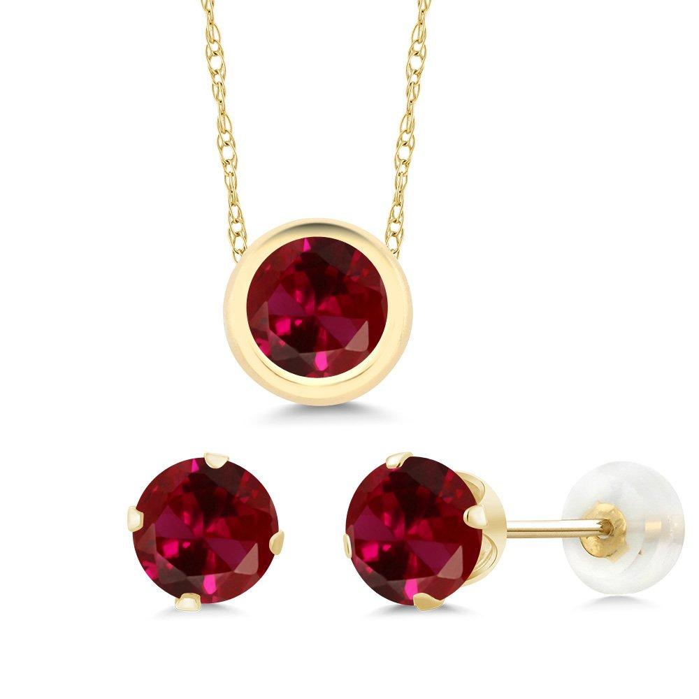 3.00 Ct 6mm Round Red Created Ruby 14K Yellow Gold Pendant Earrings Set