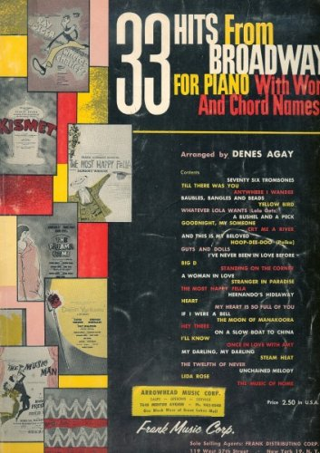 33 Hits From Broadway for Piano (With Words - Muse Piano Sheet Music