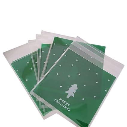 Da.Wa 100 Bolsas de celofán Autoadhesivas para Galletas de Navidad celofán Dulces, plástico, Bolsas de celofán (Verde) (Verde)