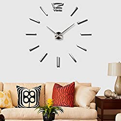 Vangold Frameless DIY Wall Clock 3D Mirror Wall Clock Large Mute Wall Stickers for Living Room Bedroom Home Decorations (2-Year Warranty) (Silver-13)