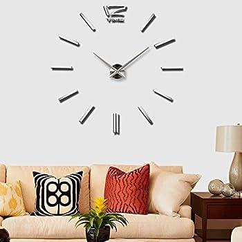 Amazon.com: Large 3D Frameless Wall Clock SOLEDI Silver Stickers ...