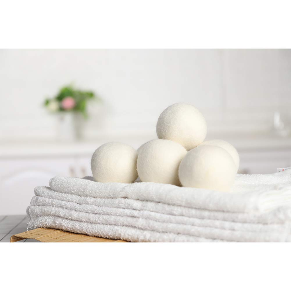 Neoikos 100% Wool Dryer Balls 6 Pack, Organic Laundry Balls for Dryer, Natural Fabric Softener, Eco-Friendly & Hypoallergenic, Baby Safe & Pets Care, White, XL