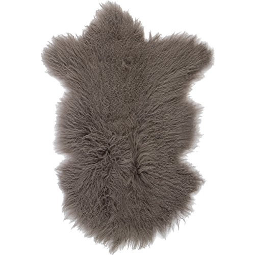 Bedroom Cabin (Sova Home Genuine Mongolian Lamb Rug (2' x 3', Grey) | Fur Throw Natural Fur Accent for Chair Bedroom Living Room Cottage Cabin)