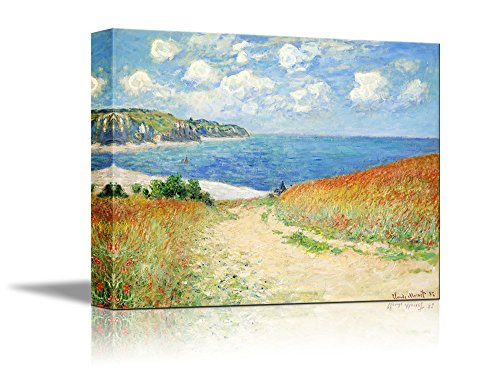 - wall26 Path Through The Corn at Pourville by Claude Monet Giclee Canvas Prints Wrapped Gallery Wall Art | Stretched and Framed Ready to Hang - 24