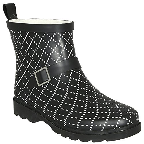 Capelli New York Ladies Dotted Diamond Printed Short Sporty Lined Rainboot Black Combo 8