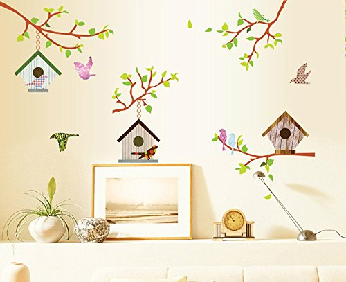ufengke Colorful Birdhouse Removable Stickers product image