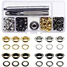 Grommet Tool Kit,Yotako 120 Set 6mm Inside Diameter Brass Eyelet Grommet with Setting Tool for Canvas Clothes and Leather DIY Craft Washer Self Backing,Grommet Installation Tool Kit