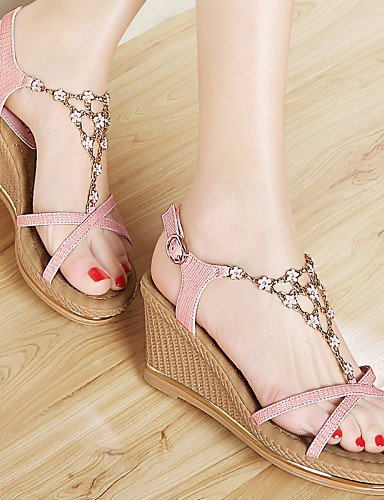 ShangYi Womens Shoes Synthetic Wedge Heel Wedges/Peep Toe Sandals Office & Career/ Party & Evening/Dress/Casual Pink/White White