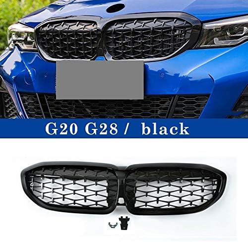 フォグライトグリル フィット感のためのBMW 3シリーズG20 G28ダイヤモンドスターグリル325li 2019-でABSブラックシルバー腎臓グリルワンペア自動車部品 フォグライトフレーム (Color : Black)