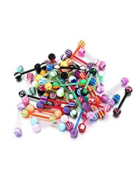 100PCS Tongue Rings 14G Acrylic Mixed Barbells Body Piercing Jewelry Vcmart
