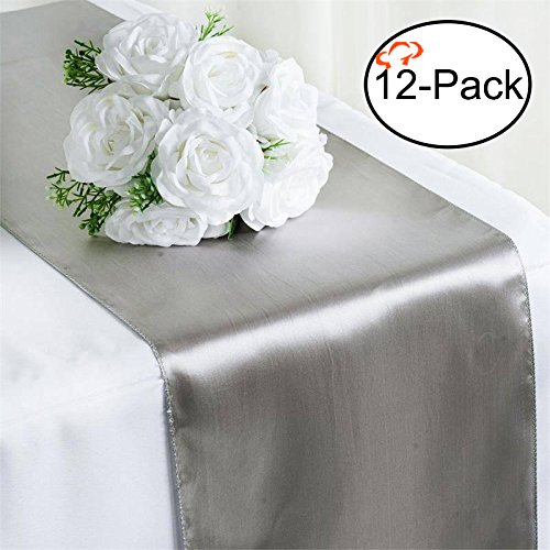 Tiger Chef 12-Pack Silver 12 x 108 inches Long Satin Table Runner for Wedding, Table Runners fit Rectange and Round Table Decorations for Birthday Parties, Banquets, Graduations, -