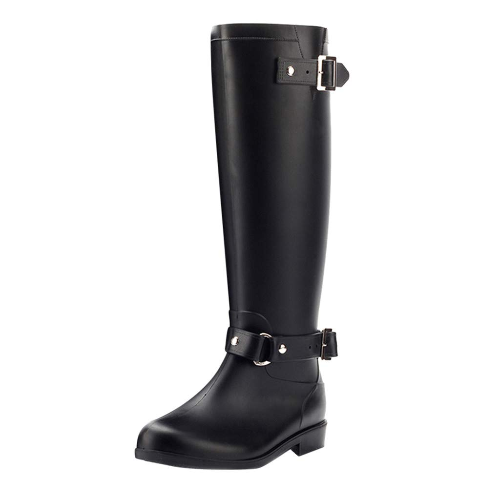 Women Shoes HOSOME Women Fashion Low-Heeled Buckle Round Toe Shoes Waterproof High Tube Rain Boots Black