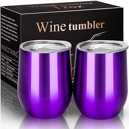 (MASCOTKING Wine Glasses Tumbler - 12 oz 2 Pack - Double Wall Vacuum Insulated Cup with Lids for Keeping Wine, Coffee, Drinks - Beverage Warm in Winter -Perfect Family)