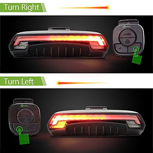 Smart Bike Tail Light X5 USB Rechargeable with Wireless Remote Turn signals Laser Beams for Moutain Bike,BMX Bike,Road Bicycle and Hybrid Bike 85 Lumens