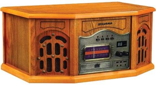 Sylvania SRCD823 Nostalgic Turntable CD Radio – Wood Cabinet