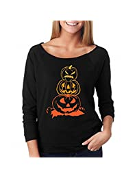 Tenworld Women T-Shirt Halloween Pumpkin Long Sleeve Pullover Tops Blouse