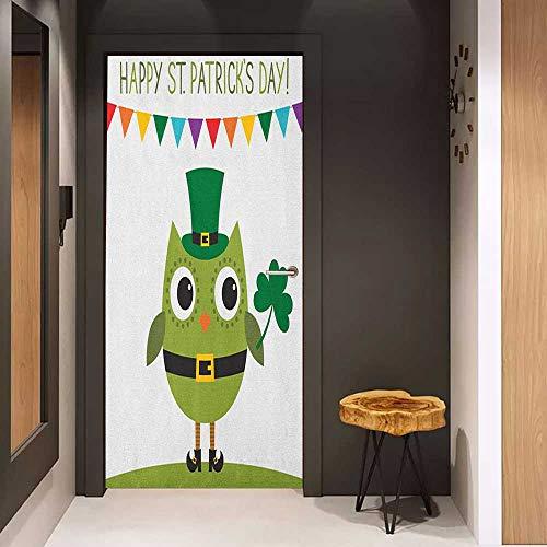 Onefzc Automatic Door Sticker St. Patricks Day Owl
