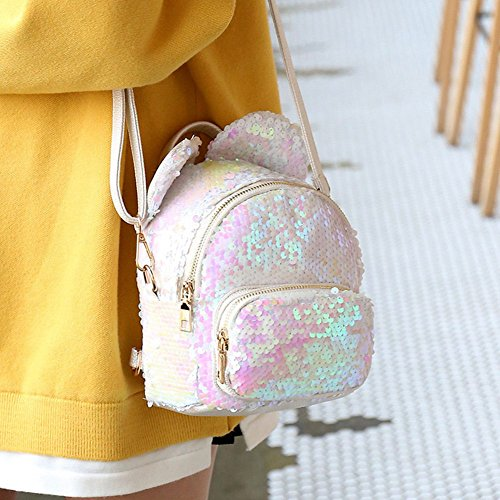 Childerns Bag Mini Shaped For Shoulders amp; Jasmineli Glittering Sequins Adult Ideal Ears White qFXn5nP6w1
