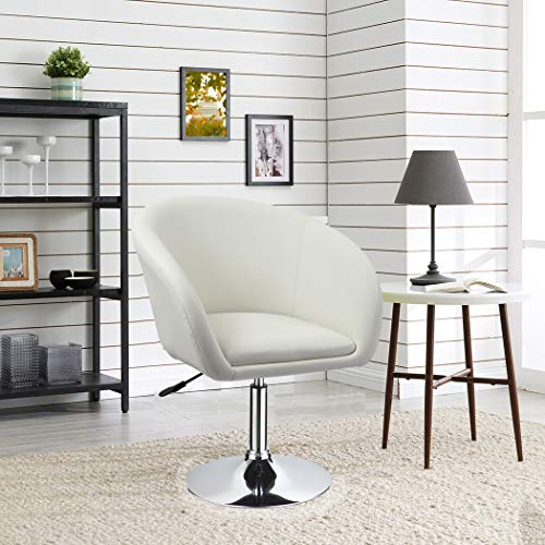 Duhome Jumbo Size Luxury PU Leather Contemporary Round Swivel Accent Chair  Tufted Adjustable Lounge Pub Bar