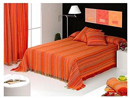 Colcha multiuso a rayas color naranja para cama, sofa, para ...