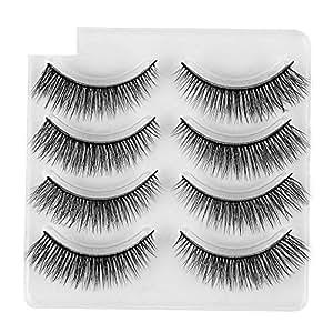 c6a1dd6f323 Amazon.com : Bessyn False Eyelashes 4 Pair Luxury 3D Fluffy Strip ...