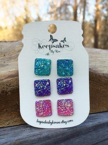 Square Glitter Stud Trio - blue, purple, pink (set of 3)