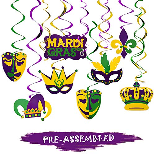 Huray Rayho 30Pcs Mardi Gras Hanging Swirl Decorations Ceiling Streamers for Birthday Party New Orleans Carnival Party -