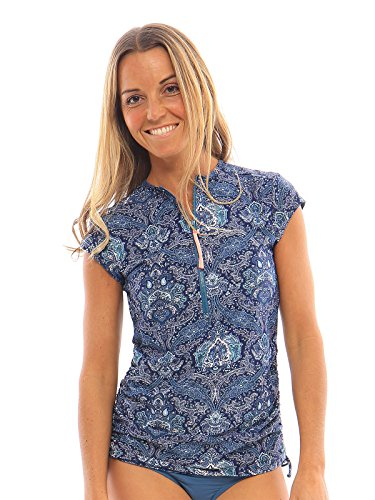 Carve Designs RGCR26 Dawson Rashguard Indigo paisley/flamingo (Cap Sleeve Womens Rash Guard)