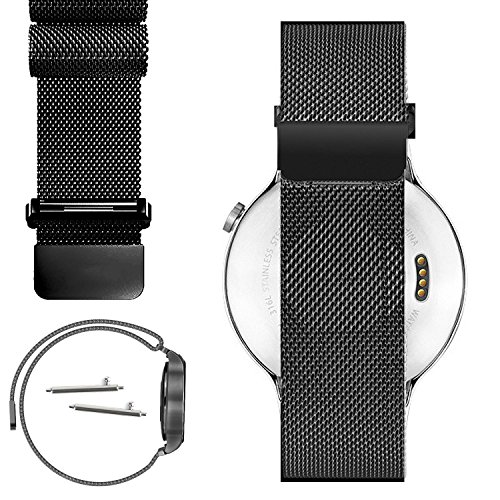 18mm Magnetic Milanese Loop Stainless Steel Magnet Closure Lock Watch Band For Withings Activité, Activité Pop or Activité Steel (YESOO Retail Packaging - 180 Days Warranty) (Black)