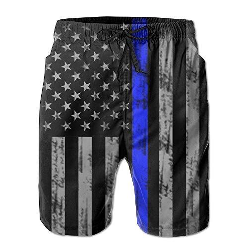 Retro Thin Blue Line Elastic Waist Men Boardshorts Quickly Drying Swim Trunks Board Shorts with Pocket