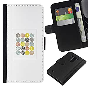 iBinBang / Flip Funda de Cuero Case Cover - Minimalista patrón Acuarela Pascua Blanca - LG Optimus G3