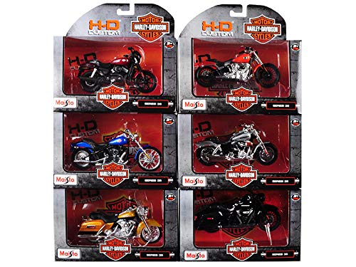 Harley Davidson Motorcycle 6 Piece Set Series 36 1/18 Diecast Models by Maisto 31360-36