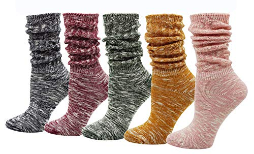 Bienvenu 5 Pairs Womens Teen Girls All Season Lightweight Cable Knit Cotton Socks Candy Color Slouch Boot Socks, Candy Color 5