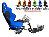 Openwheeler Racing Wheel Stand Cockpit Blue on Black | For Logitech G29 | G920 and Logitech G27 | G25 | Thrustmaster | Fanatec Wheels | Racing wheel & controllers NOT included
